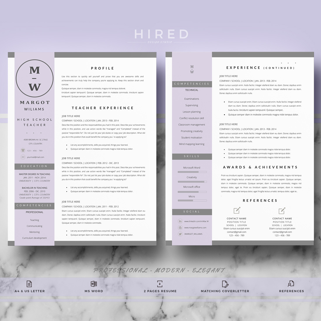 "Teacher Resume Template for MS Word: ""Margot"""