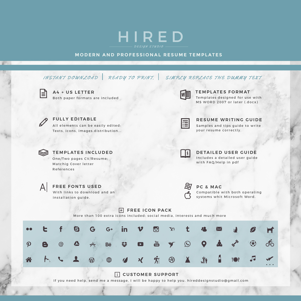 """Professional & Modern Resume Template for MS Word: """"Michelle"""""""