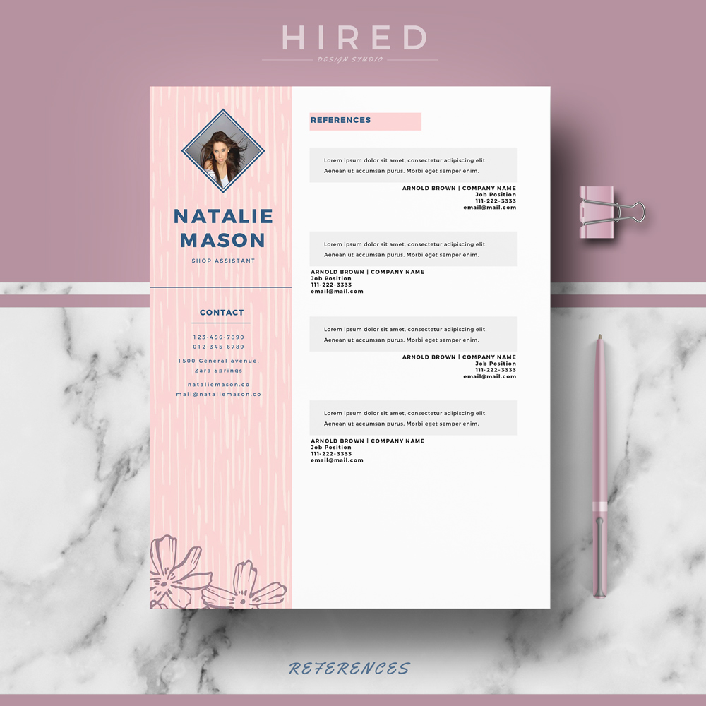 """Creative Resume Template for MS Word: """"Natalie"""""""