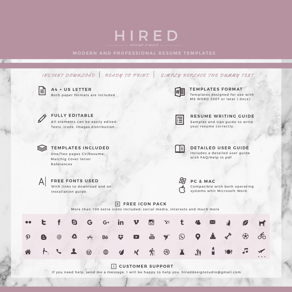 "Creative Resume Template for MS Word: ""Natalie"""