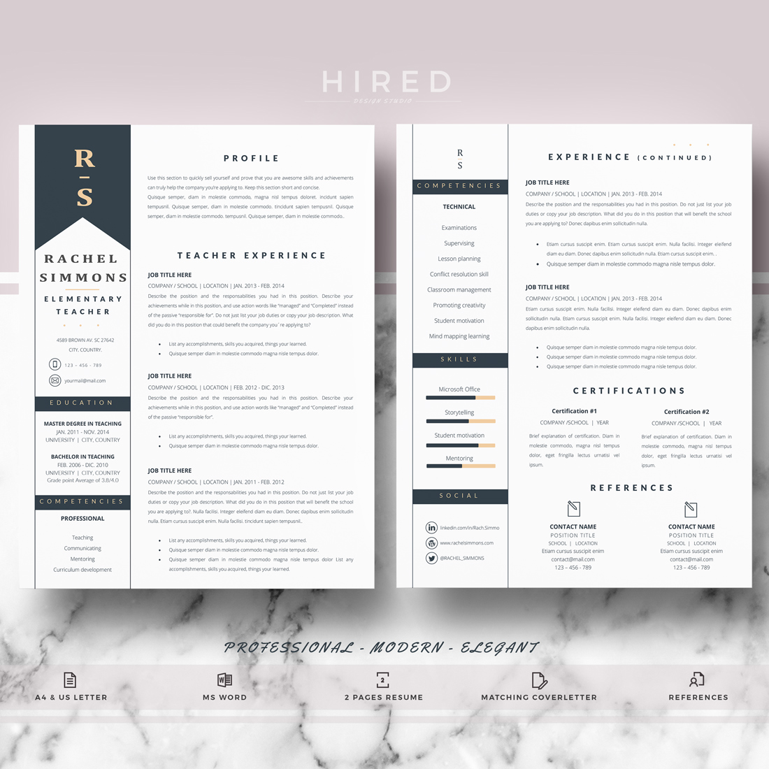 "Teacher Resume Template for MS Word: ""Rachel"""