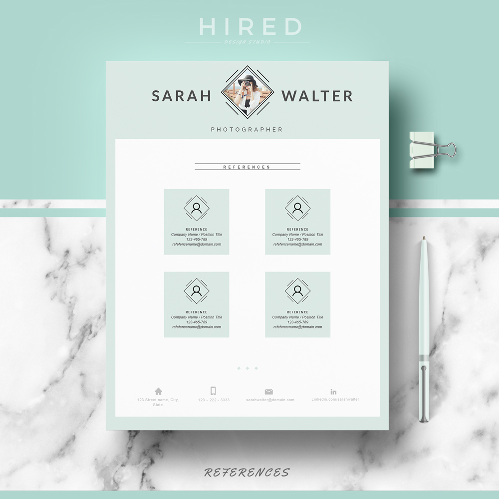 "Modern Resume Template for MS Word: ""Sarah"""