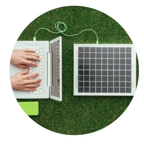 Laptop hooked up to solar power
