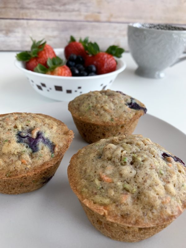 Blueberry Oat Carrot Zucchini Muffins
