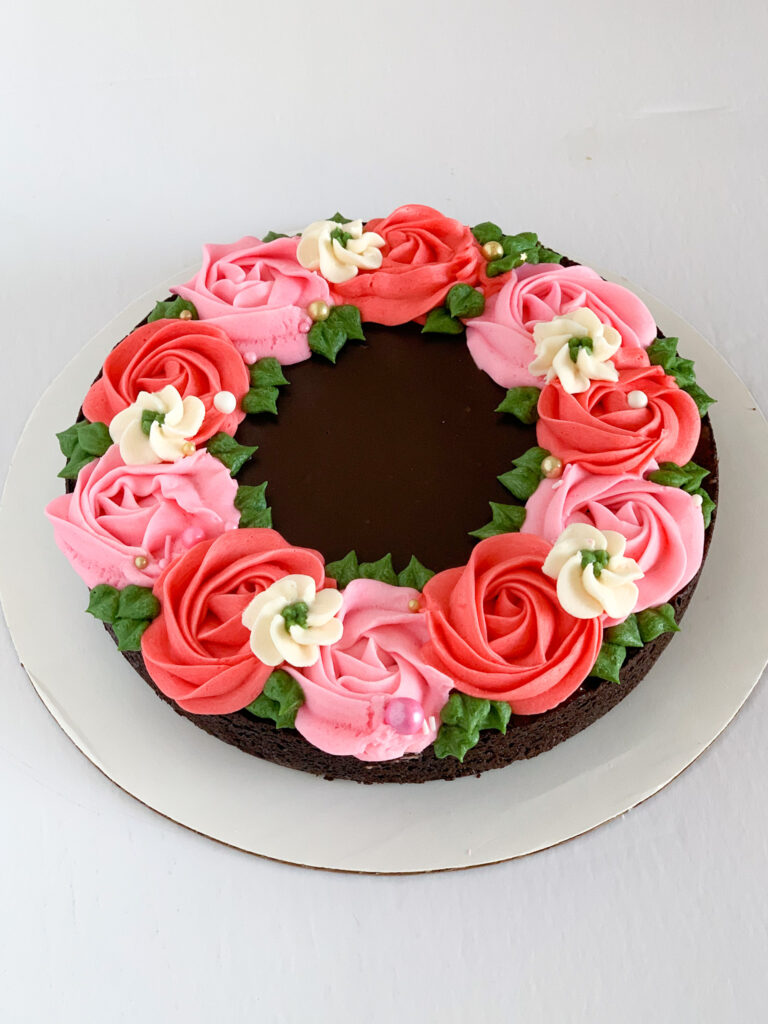 Brownie with Buttercream Flowers