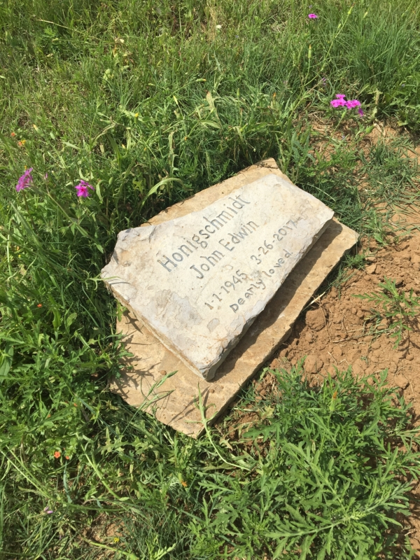 John Honigschmidt's Marker is at Countryside Memorial Park in La Vernia, Texas