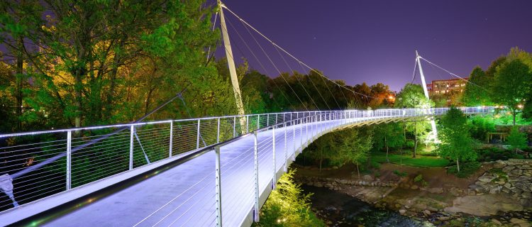 Liberty Bridge at Falls Park in Greenville, South Carolina.