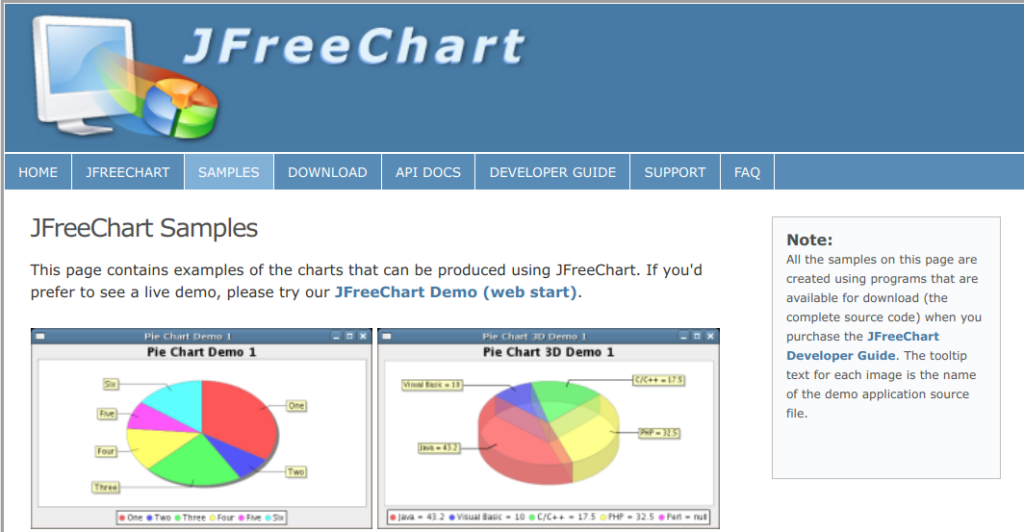 Graphs and Charts with JFreeChart: JFree.org website