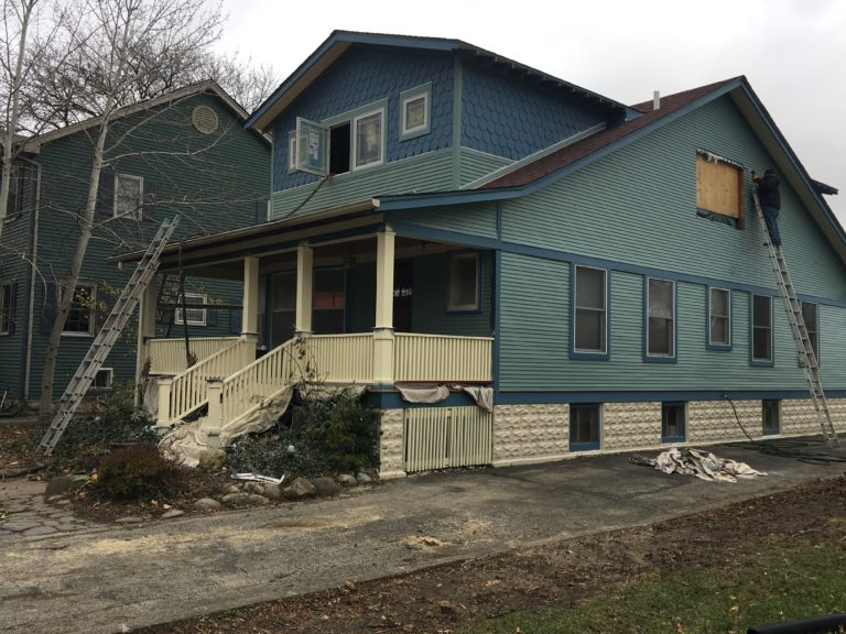 blue victorian home, exterior