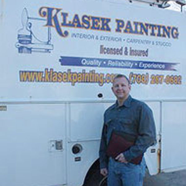 Klasek Painting Contractor in front of truck