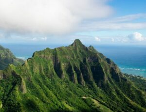 As the soils have become depleted the oceans have become enriched - photo of tropical mountain overlooking the sea. Trace mineral deficiency is common in tropical climates where the soil is constantly washing into the sea.