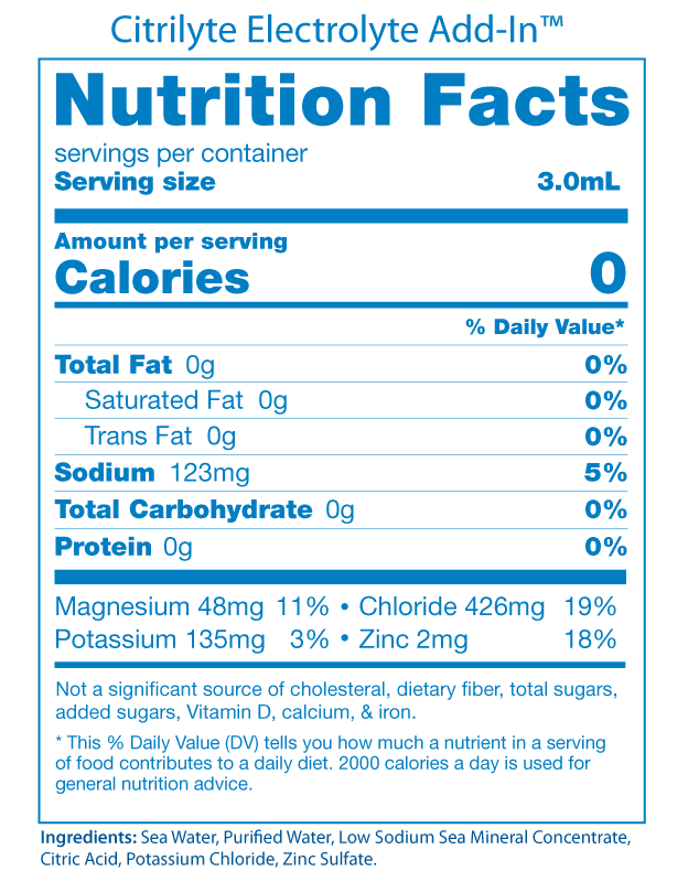 CitriLyte Electrolyte Nutrition Facts Panel