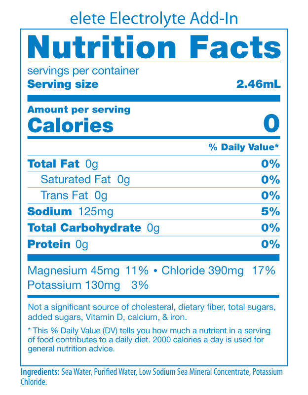 elete Electrolyte Nutrition Facts Panel