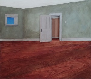"""The Cat's View of Empty Rooms 24"""" X 21"""" X 2"""""""