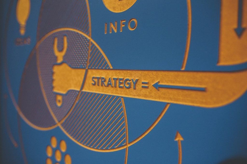 Blue sign that says strategy and info with icons like an arm holding a wrench and a lightbulb to symbolize the importance of improving your digital marketing strategy with good clean data quality