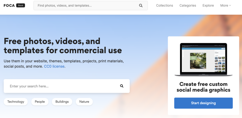 Screenshot of the homepage of FOCA Stock, a website where you can find free stock images, photos, videos, and templates