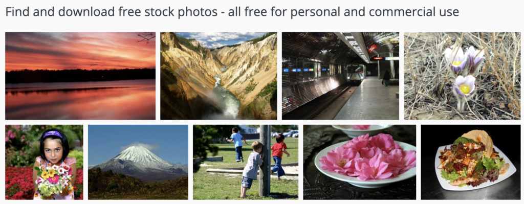 Screenshot of a few stock photo selections from the Free Images website, one of the places where you can get free stock images, photos, illustrations and more