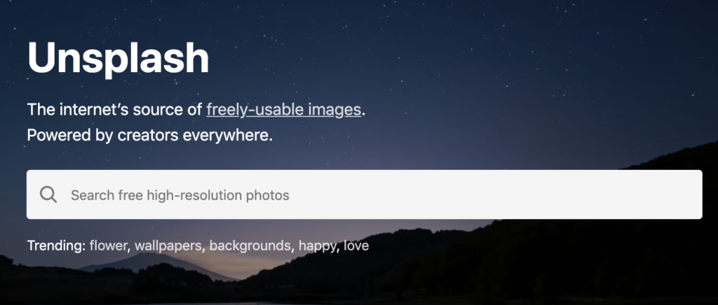 Screenshot of a search bar on the Unsplash website, one of the places where you can get free stock images, photos, illustrations and more