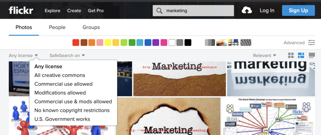 Screenshot of a search screen from Flickr, one of the places where you can get free stock images, photos, illustrations and more