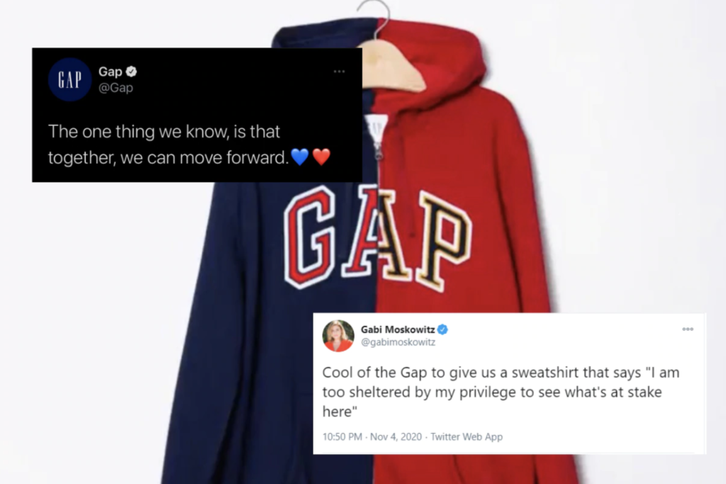 """Example of cause marketing that wasn't received well: Gap's political social post with a red and blue sweatshirt tweeted with """"The one thing we know, is that together, we can move forward. heart emoji"""""""