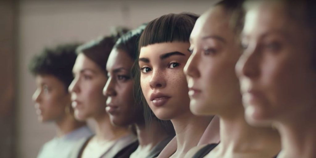 Lil Miquela standing amidst real human women