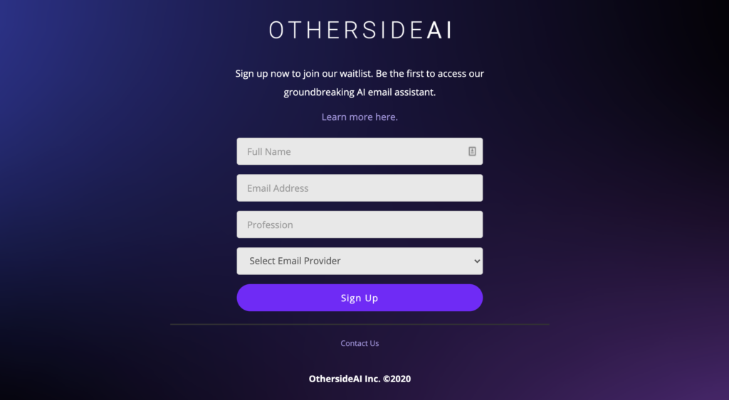 Screenshot of the waitlist signup on a landing page for OthersideAI