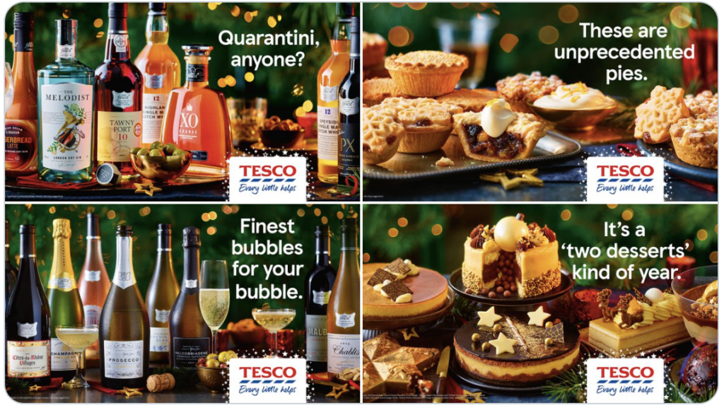 A collection of ad campaigns from UK grocery store Tesco