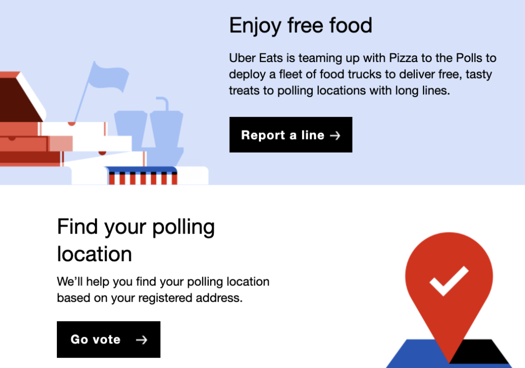 screenshot of Uber email marketing with offering free food at polls and help user's finding polling locations - cause marketing example