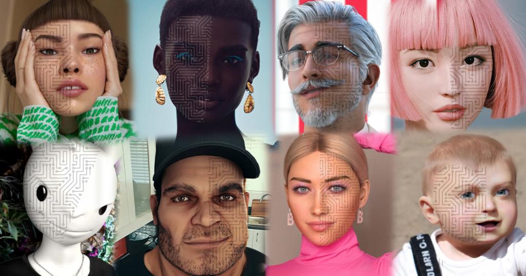 8 headshots of various virtual influencers