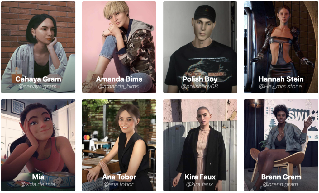 A collection of images of various virtual influencers, including Polish Boy, Cahaya Gram, Mia, Ana Tobor, Brenn Gram, Hannah Stein, Kira Faux, Amanda Bims. A leading marketing trend of 2021 and beyond