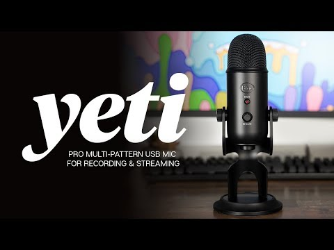 microphone resting on a desk with the words Yeti: Pro multi-pattern USB mic for recording and streaming in front of it