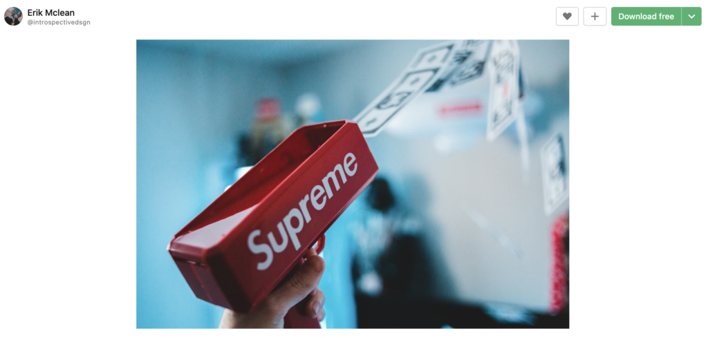 screenshot of user-generated content incorporating the supreme brand posted to unsplash as a stock photo