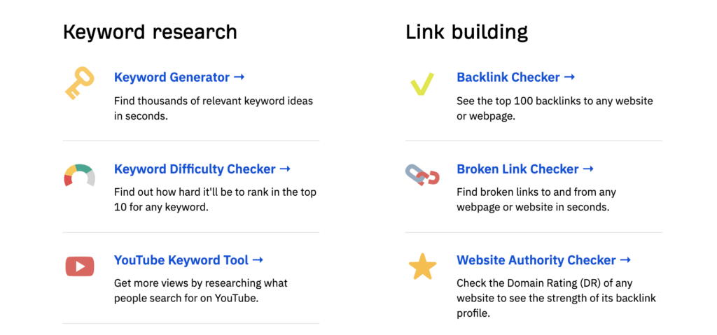 list of a variety of free SEO tools available from Ahrefs as a creative marketing tactic