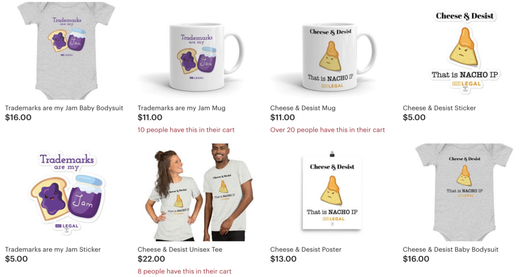 several items for sale, like t-shirts and mugs, in the etsy shop for startup alt legal. they sell branded merchandise with the profit going to charity as a creative marketing tactic