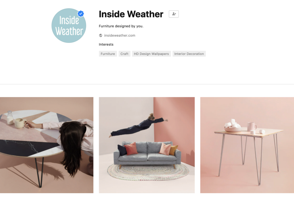 screenshot of branded stock photos uploaded to unsplash by furniture brand inside weather