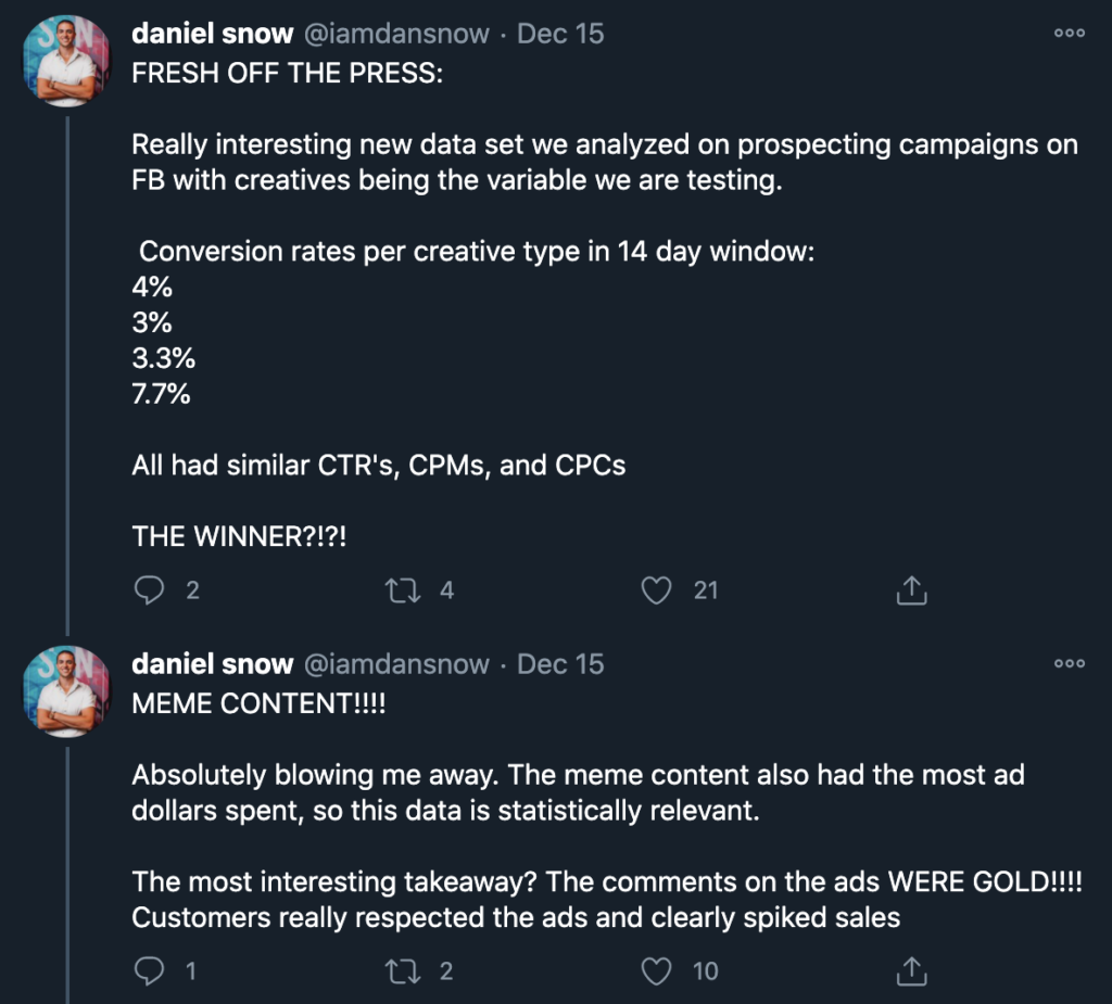 screenshot of tweets from user IAmDanSnow that discusses the higher conversion rates he sees with using meme content in facebook ads