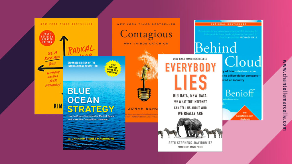 Covers of 5 of the best books about general business: Radical Candor, Blue Ocean Strategy, Contagious, Everybody Lies, Behind the Cloud