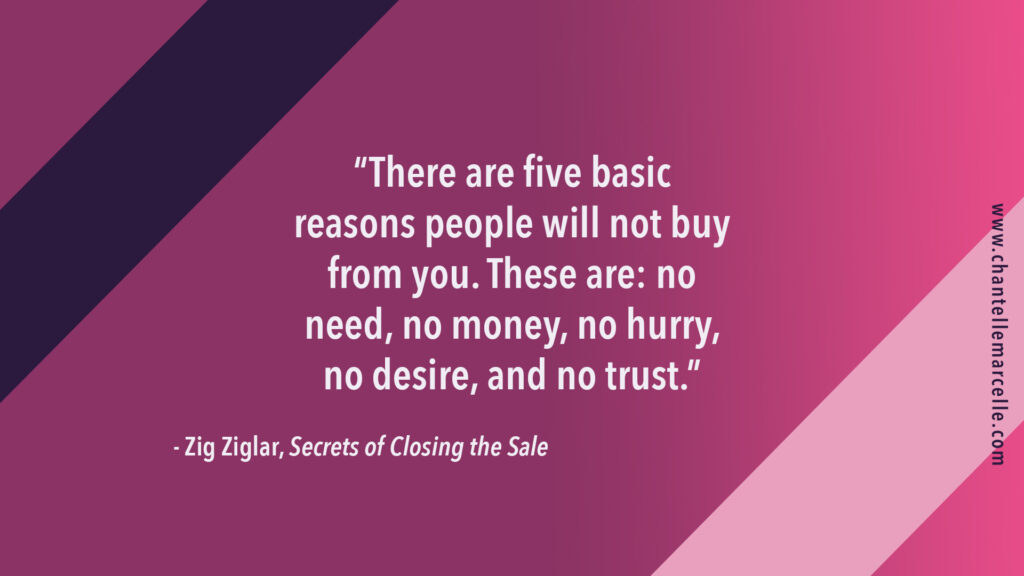 "Quote by Zig Ziglar by his book Secrets of Closing the Sale: ""There are five basic reasons people will not buy from you. These are: no need, no money, no hurry, no desire, and no trust."""