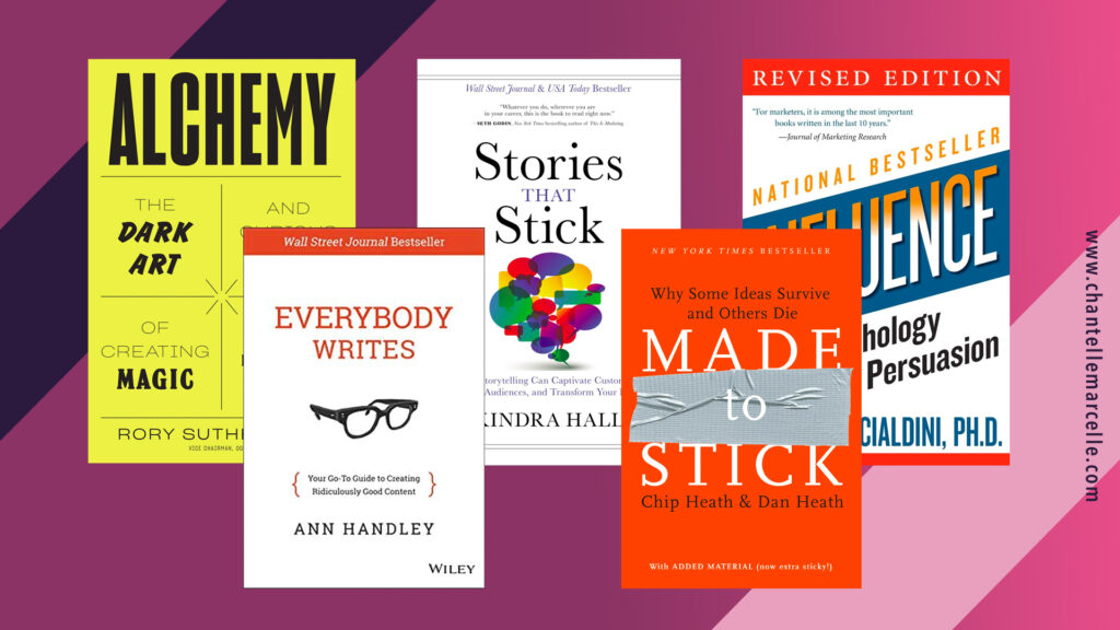 covers of 5 of the best marketing books:influence, everybody writes, stories that stick, made to stick, alchemy