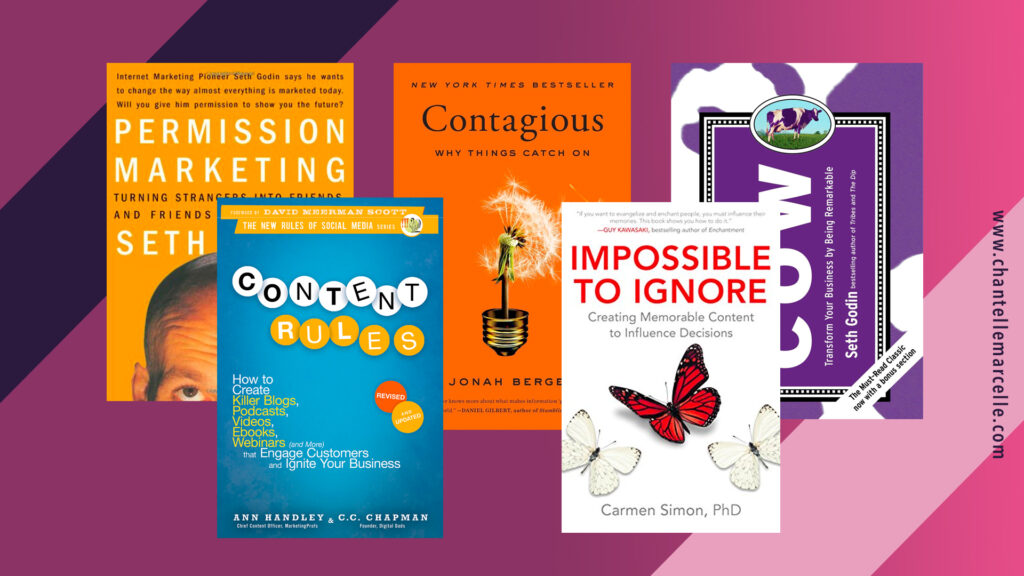covers of 5 of the best marketing and copywriting books: permission marketing, content rules, contagious, impossible to ignore, and purple cow