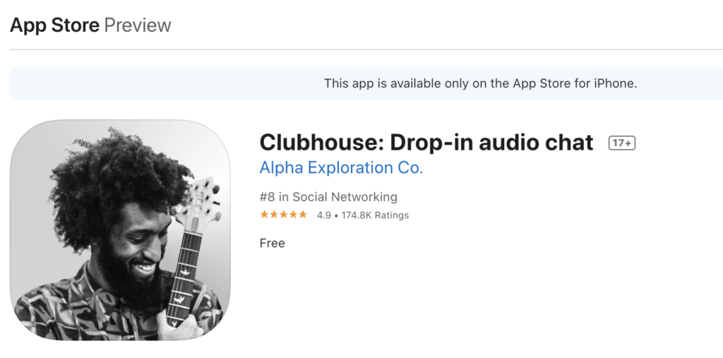 what is clubhouse social media app? this is a screenshot of the apple app store preview to download the clubhouse drop-in audio chat app.