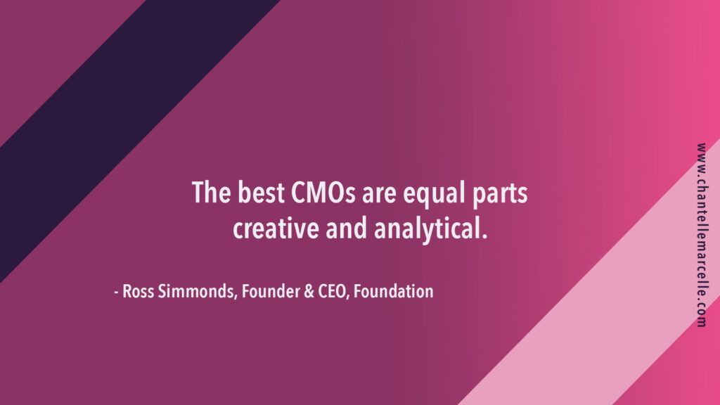The best CMOs are equal parts creative and analytical.Quote by Ross Simmonds, CEO of Foundation marketing agency