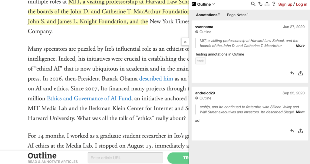 screenshot of the outline, which lets you read online articles without other distractions while taking notes