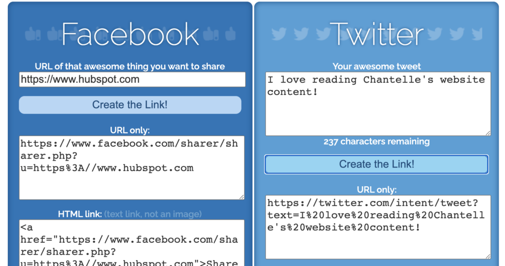 screenshot of share link generator website, which allows you to create links for people to share your content to any social media platform