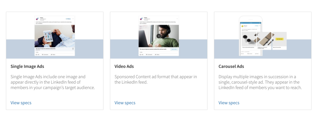 screenshot from LinkedIn Ads page showing different categories of LinkedIn paid ads, including single image ads, video ads and carousel ads, all ideal selections for digital B2B advertising.