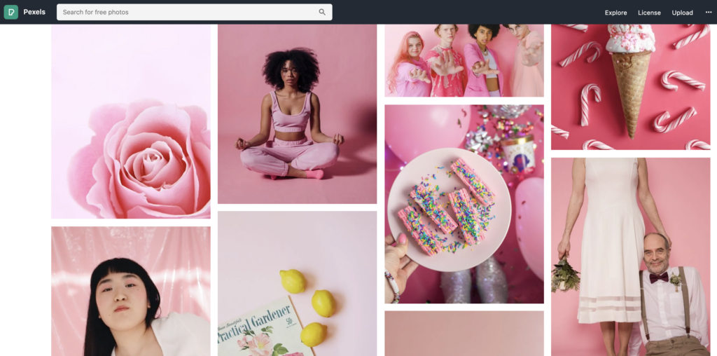 screenshot from pexels stock photography website featuring pictures with a pink color theme that display diverse people of different races and diverse images of food, flowers, and more