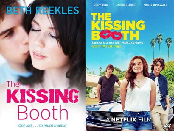 side by side image of the kissing booth book and netflix movie of the book, which was originally published on wattpad