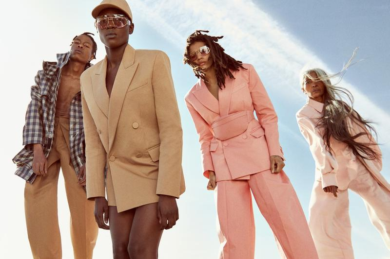 photo of diverse group of models with different skin tones and of different ages in a marketing and advertising campaign for rihanna's fenty luxury fashion brand, which combats visual bias with inclusive images