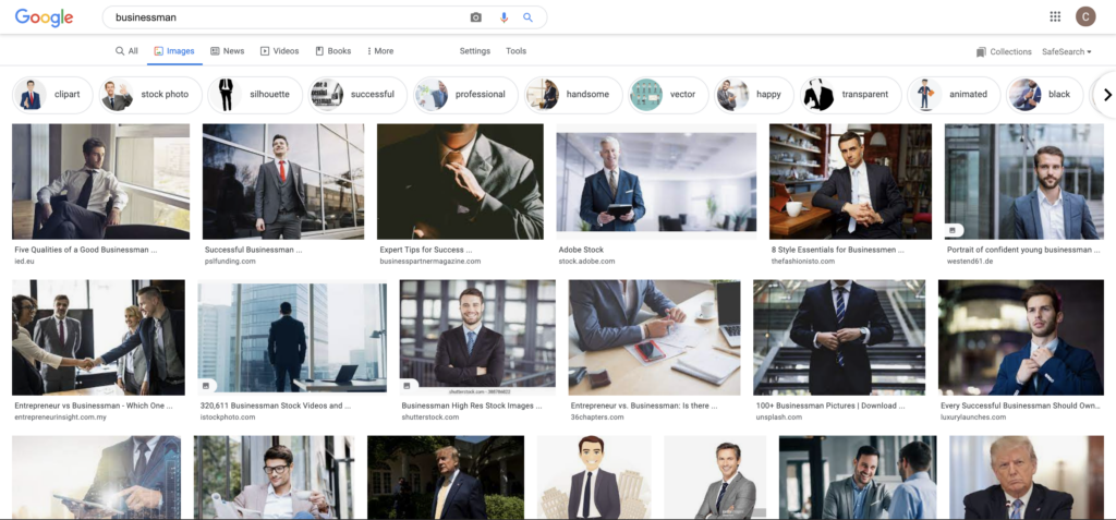 """screenshot of search results for images related to the word """"business man,"""" all white men. which shows how algorithms can further visual bias by creating associations between certain words and certain images."""