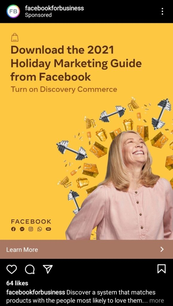 """facebook digital advertising creative content example from facebook for business with bright yellow background and the image of a woman laughing over it. headline is """"download the 2021 holiday marketing guide from facebook"""""""